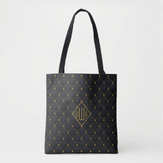 Posh Quilted Black & Gold Stitching Tote Bag