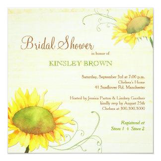 Posh Sunflowers n Swirls Bridal Shower Card