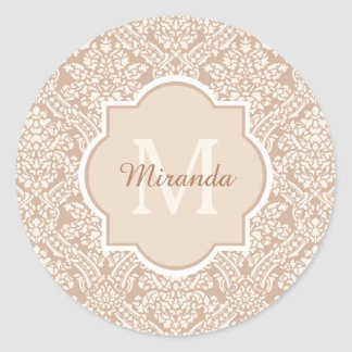 Posh Tan Damask Pattern Monogram With Name Classic Round Sticker
