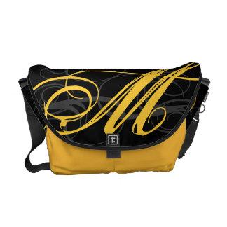 Posh Yellow Saffron Monogram Initial on Black Courier Bag