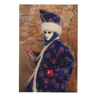 Posing In Carnival Costume, Venice Wood Wall Decor