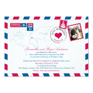 Positano Italy Airmail Post Wedding Reception Card