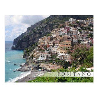 Positano town at the Amalfi coast bar postcard