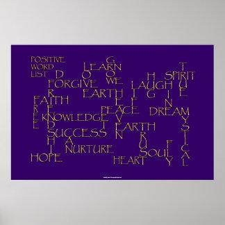 POSITIVE AFFIRMATION 3D Golden Text Poster