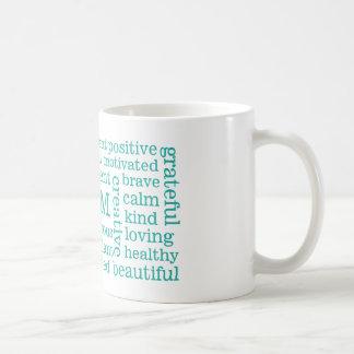 Positive Affirmations I AM Statements Aqua Basic White Mug