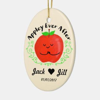 Positive Apple Pun - Appley Ever After Ceramic Ornament