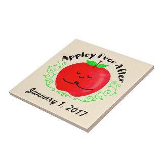 Positive Apple Pun - Appley Ever After Ceramic Tile