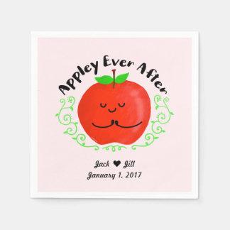 Positive Apple Pun - Appley Ever After Disposable Napkins
