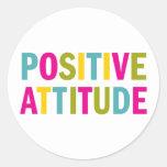 Positive Attitude in bright colours Round Stickers