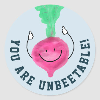 Positive Beet Pun - Unbeetable Classic Round Sticker