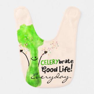 Positive Celery Pun - Celerybrate Good Life Bib