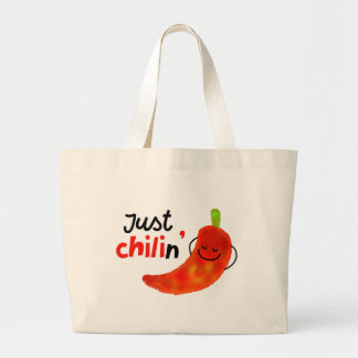 Positive Chili Pepper Pun - Just Chilin Large Tote Bag