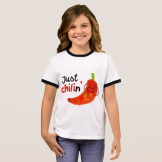Positive Chili Pepper Pun - Just Chilin Ringer T-Shirt