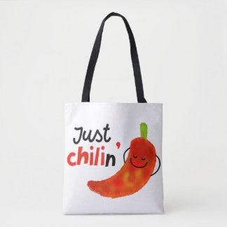 Positive Chili Pepper Pun - Just Chilin Tote Bag