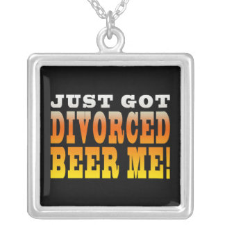 Positive Divorce Gift Ideas : Divorced Beer Me Silver Plated Necklace