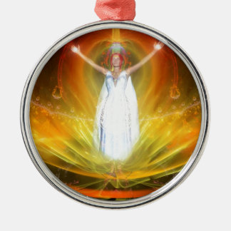 Positive Energy Goddess Silver-Colored Round Decoration