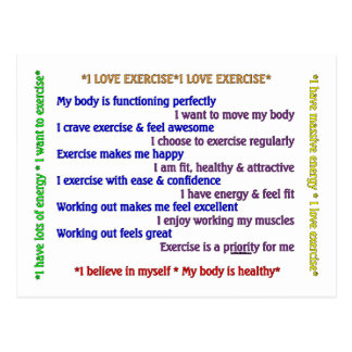 Positive Exercise Affirmations Postcard