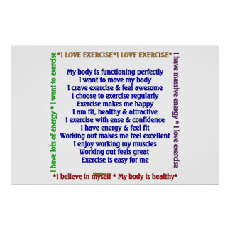 Positive Exercise Affirmations Poster