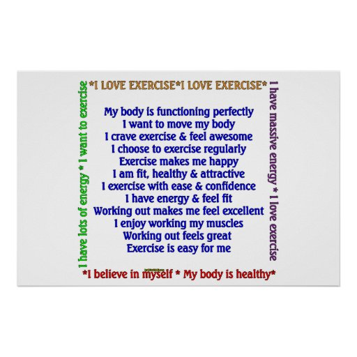 Positive Exercise Affirmations Posters