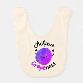 Positive Grape Pun - Achieve Grapeness Bib