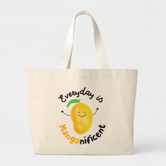 Positive Mango Pun - Everyday is Mangonificent Large Tote Bag
