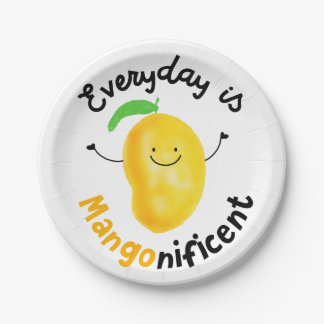 Positive Mango Pun - Everyday is Mangonificent Paper Plate