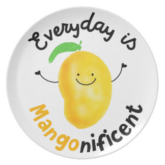 Positive Mango Pun - Everyday is Mangonificent Plate