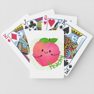 Positive Peach Pun - Peachy Bicycle Playing Cards