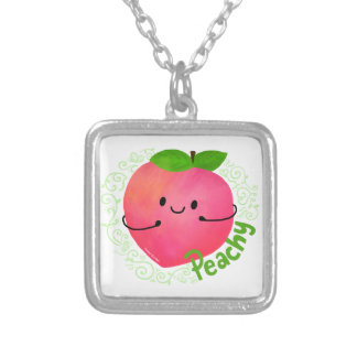 Positive Peach Pun - Peachy Silver Plated Necklace