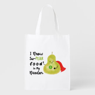 Positive Pear Pun - I Grow SuPear Food Reusable Grocery Bag