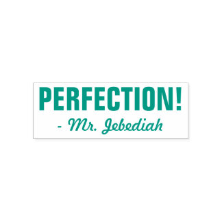 "Positive ""PERFECTION!"" + Custom Tutor Name Self-inking Stamp"
