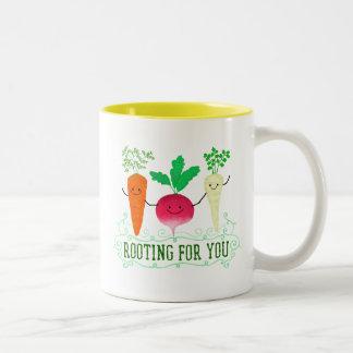 Positive Root Pun - Rooting for you Two-Tone Coffee Mug
