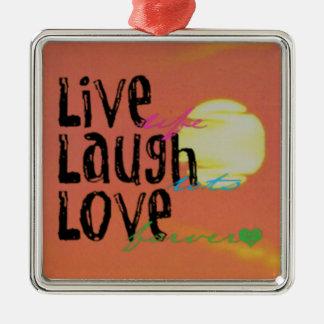 Positive Sunshine Live Laugh Love Quote Silver-Colored Square Decoration
