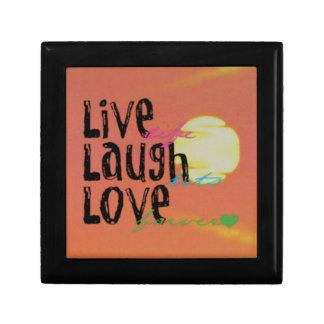 Positive Sunshine Live Laugh Love Quote Small Square Gift Box