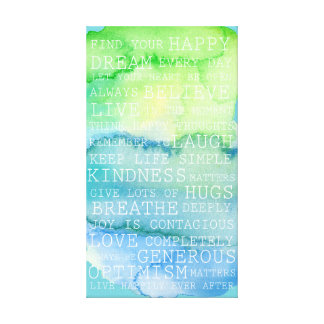 Positive Thoughts Inspirational Words Green Blue Canvas Print