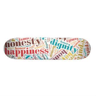 Positive words cloud skate deck