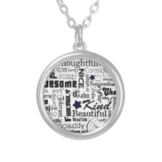 Positive words typography round pendant necklace