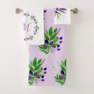 Positively Plum Watercolor Leaves Monogram Bath Towel Set
