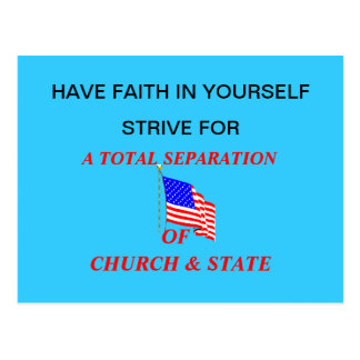 Post Card: A TOTAL SEPARATION OF CHURCH & STATE Postcard