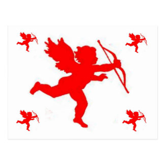 Post Card Cupid Red Plain