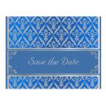 Post Card--Save the Date Fleur Light Blue