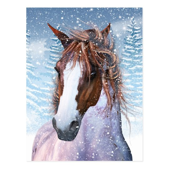 Post Card With Winter Horse In The Snow