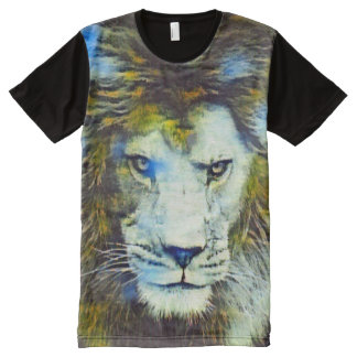 Post Impressionism African Lion Wildlife Art All-Over Print T-Shirt