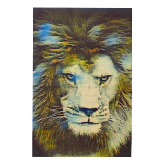 Post Impressionism African Lion Wildlife Art Wood Canvases