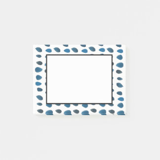 Post It Notes Blue Watercolor Raindrop Fun Pattern