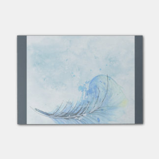 Post-it notes, blue with feather design post-it® notes