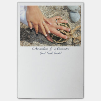 Post-it photo marriage hands alliances beach sea post-it notes
