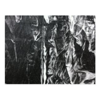 Post modern distressed plastic effect in grey postcard