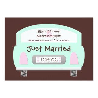 Post Wedding Reception Invitation -- Mint Car