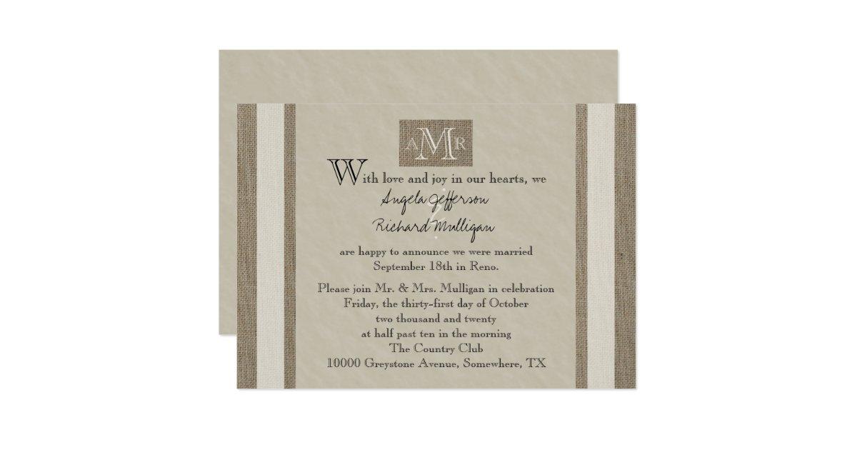 Post Wedding Invitations Reception: Post Wedding Reception Invitation - Parchment Look